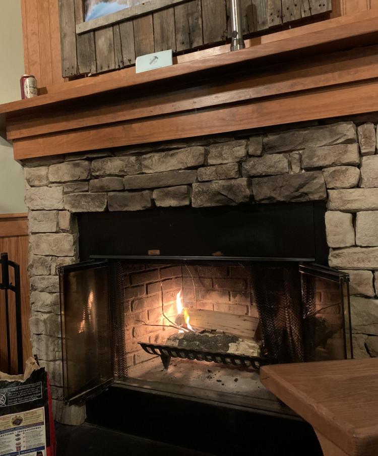 Peaceful fireplace at Bear Creek Lake State Park